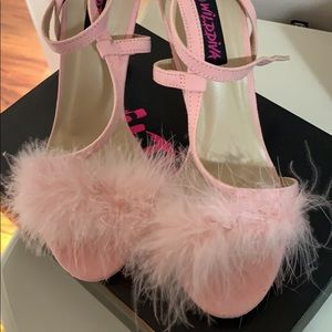Pink feather heeled sandals